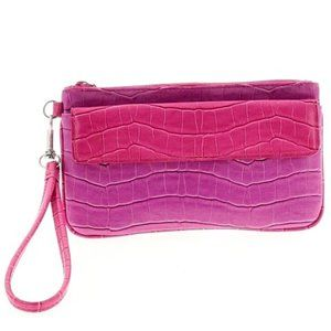 Pink and Purple Faux Croc Patterned Clutch